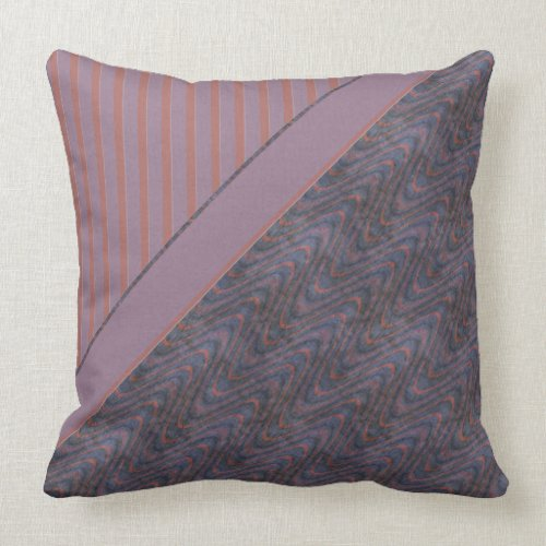 Orange Blue Lavender Abstract Stripes and Waves Throw Pillow