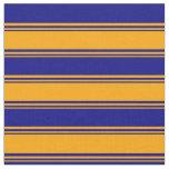 [ Thumbnail: Orange & Blue Lined Pattern Fabric ]