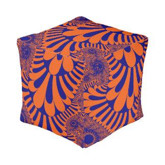 Orange Blue Loop Pattern Cube Pouf