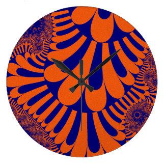 Orange Blue Loop Pattern Large Round Wall Clock