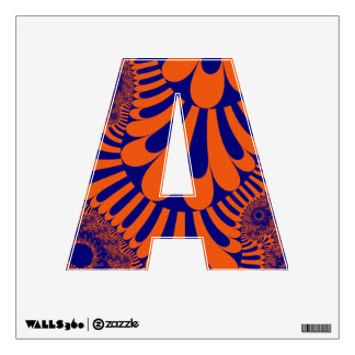 Orange Blue Loop Pattern Letter A Decal