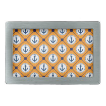 Orange Blue Nautical Anchor Pattern Belt Buckle