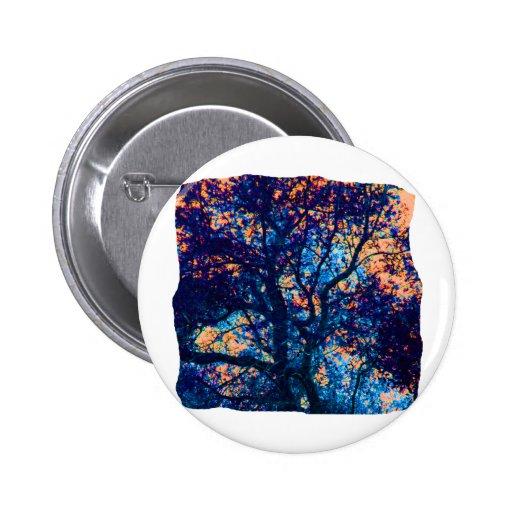 Orange Blue Oak Tree Abstract Branch 2 Inch Round Button