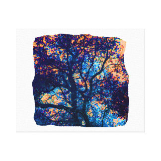 Orange Blue Oak Tree Abstract Branch Canvas Print
