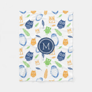 Orange Blue Owls Feathers Pattern Monogram Blanket