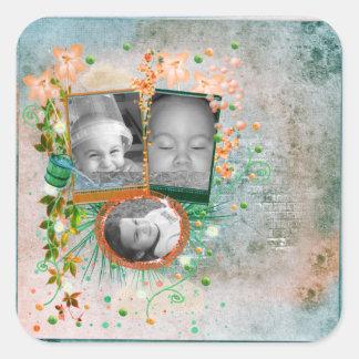 Orange & Blue Photo Frame Scrapbook Style Square Sticker