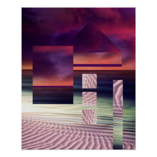 Orange, Blue & Pink Surreal Landscape Poster