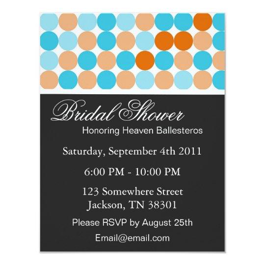 Orange, Blue Polka Dot Bridal Shower Invitations