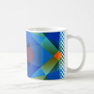 Orange Blue Polygon Mug