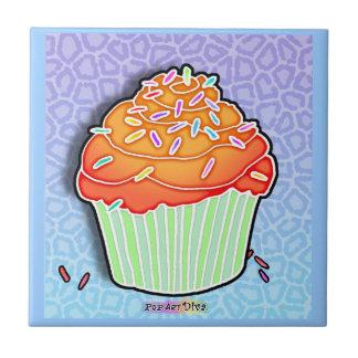 Orange, Blue Pop Art Cupcake Tile