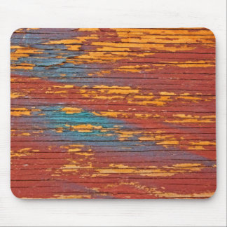 Orange, Blue & Red Painted Wood Mouse Pad