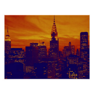 Orange Blue Retro Pop Art New York City Poster