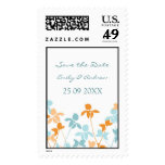 Orange Blue Save the Date Wedding Stamps
