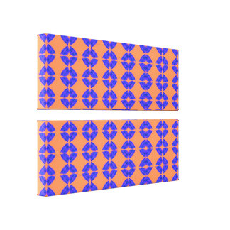 Orange blue shapes pattern canvas print