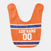 Orange Blue Sports Jersey with Name and Number Bib