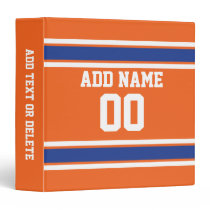 Orange Blue Sports Jersey with Name and Number Binder