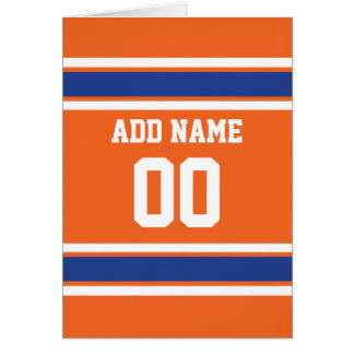 Orange Blue Sports Jersey with Name and Number Card