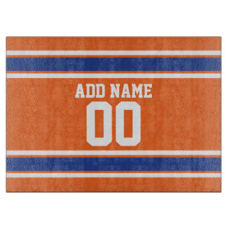 Orange Blue Sports Jersey with Name and Number Cutting Boards