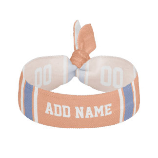 Orange Blue Sports Jersey with Name and Number Elastic Hair Tie