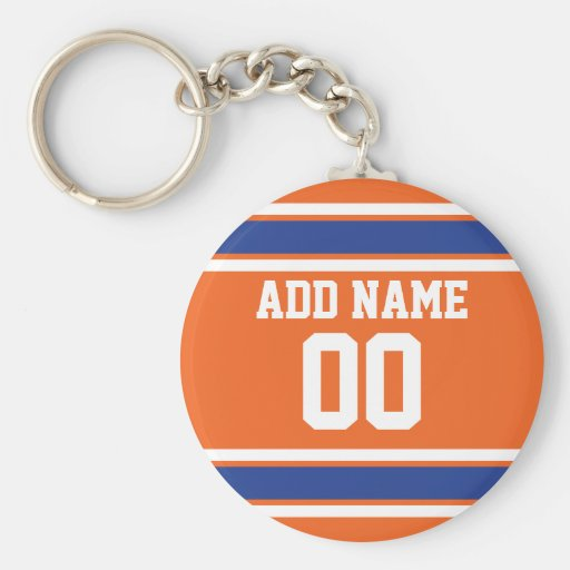 Orange Blue Sports Jersey with Name and Number Key Chain