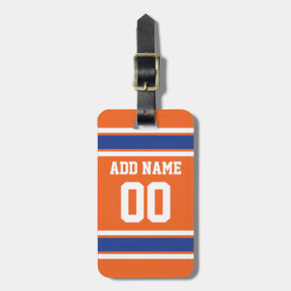 Orange Blue Sports Jersey with Name and Number Luggage Tag