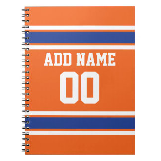 Orange Blue Sports Jersey with Name and Number Spiral Notebooks