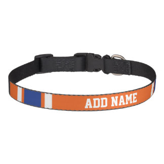 Orange Blue Sports Jersey with Name and Number Pet Collar