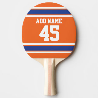 Orange Blue Sports Jersey with Name and Number Ping-Pong Paddle
