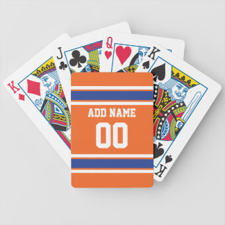 Orange Blue Sports Jersey with Name and Number Bicycle Playing Cards