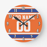 Orange Blue Sports Jersey with Name and Number Round Clock