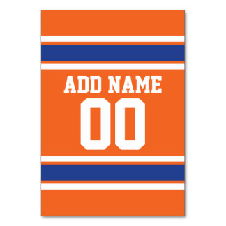Orange Blue Sports Jersey with Name and Number Table Card