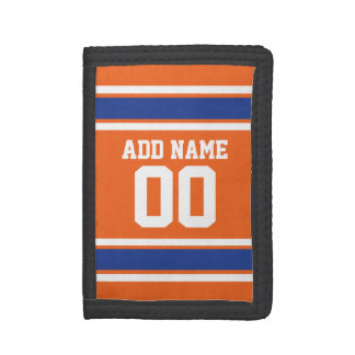 Orange Blue Sports Jersey with Name and Number Wallet