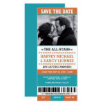 Orange & Blue Sports Ticket Save the Date Card