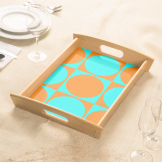 Orange&Blue Square&Circle Decorative Design Serving Tray