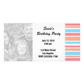 Orange Blue Striped Party Invites Photo Card