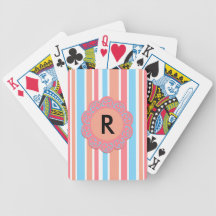 Orange blue stripes deck of cards
