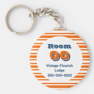 Orange blue stripes hotel room basic round button keychain