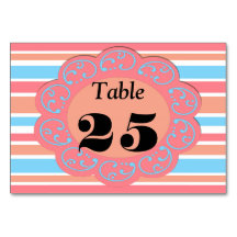 Orange blue stripes Tablecards Table Card