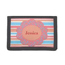 Orange Blue Stripes Trifold Wallet