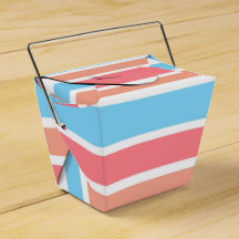 Orange Blue Stripes Wedding Favor Box