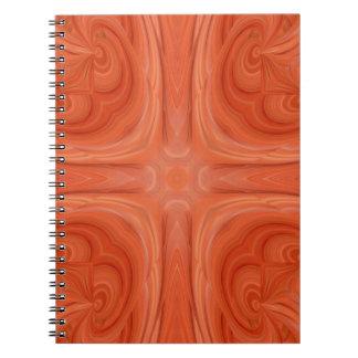 Orange Blue stylish wood pattern Spiral Note Books