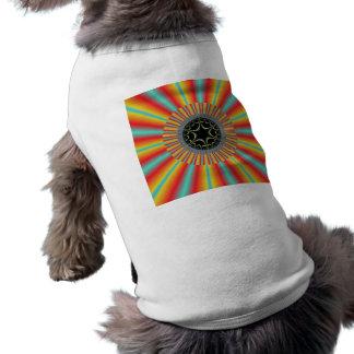 Orange Blue Sunburst Fractal Dog Clothing