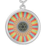 Orange Blue Sunburst Fractal Necklace
