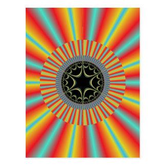 Orange Blue Sunburst Fractal Postcard