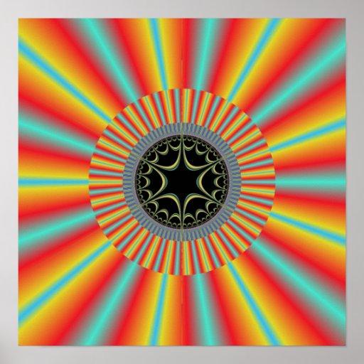 Orange Blue Sunburst Fractal Poster
