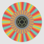 Orange Blue Sunburst Fractal Sticker