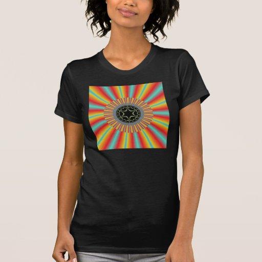 Orange Blue Sunburst Fractal T Shirt
