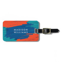 Orange Blue Teal Vibrant Modern Bold Strokes Luggage Tag