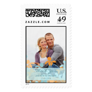 Orange Blue Thank You Wedding Stamps