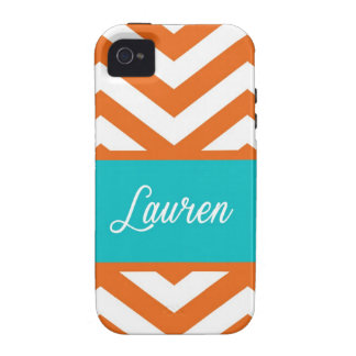Orange, Blue, & White Chevron Stripe Vibe iPhone 4 Cover